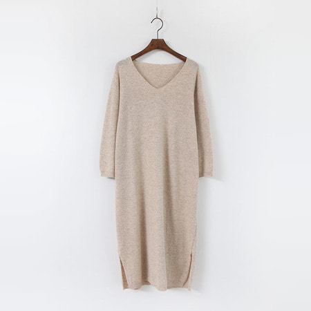 Cashmere Wool V-Neck Knit Dress